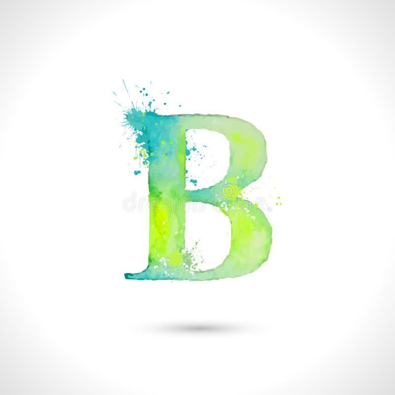 Dirigez l'alphabet peint à la main d'aquarelle, éléments d'éclaboussure conçoivent, marquent avec des lettres B illustration de vecteur