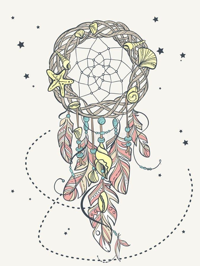Dirigez l'amulette de Dreamcatcher du style de mer, le talisman indien indigène avec des plumes et les coquilles illustration stock
