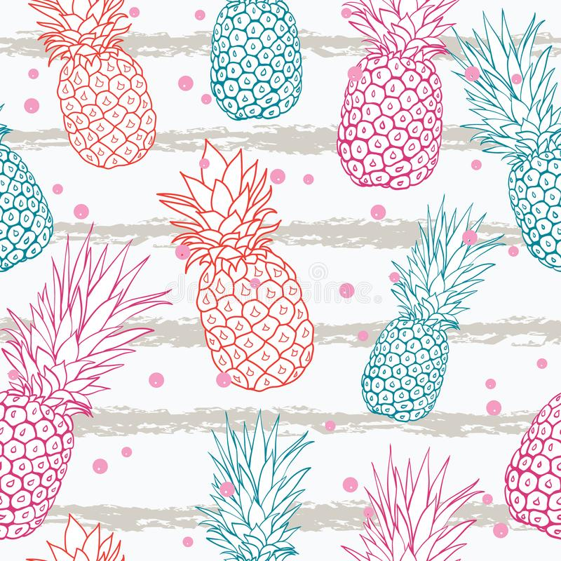Dirigez l'ananas sur le fond sans couture tropical coloré de modèle d'été de rayures de grunge Grand comme copie de textile, part illustration libre de droits
