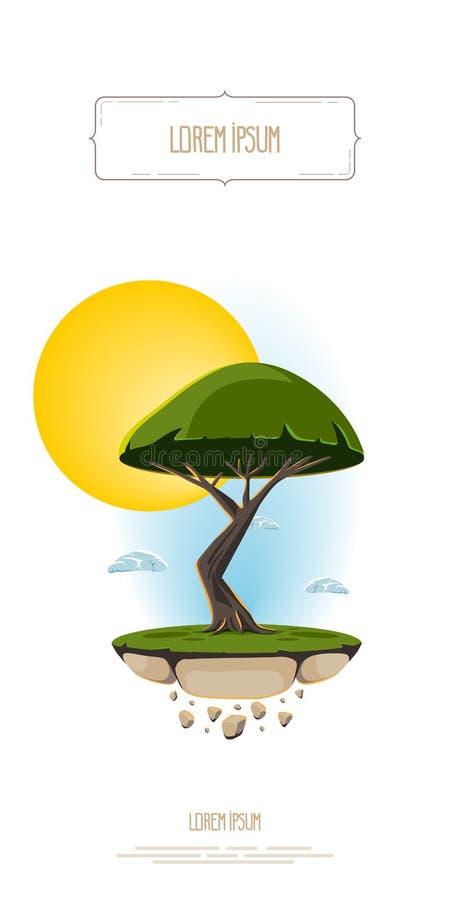 Dirigez l'arbre abstrait d'illustration, pilotant la terre d'île sur le ciel et le soleil de fond Calibre pour le logo, bannière illustration libre de droits