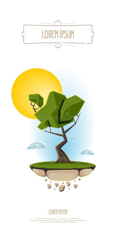 Dirigez l'arbre abstrait d'illustration, pilotant la terre d'île sur le ciel et le soleil de fond Calibre pour le logo, bannière illustration stock