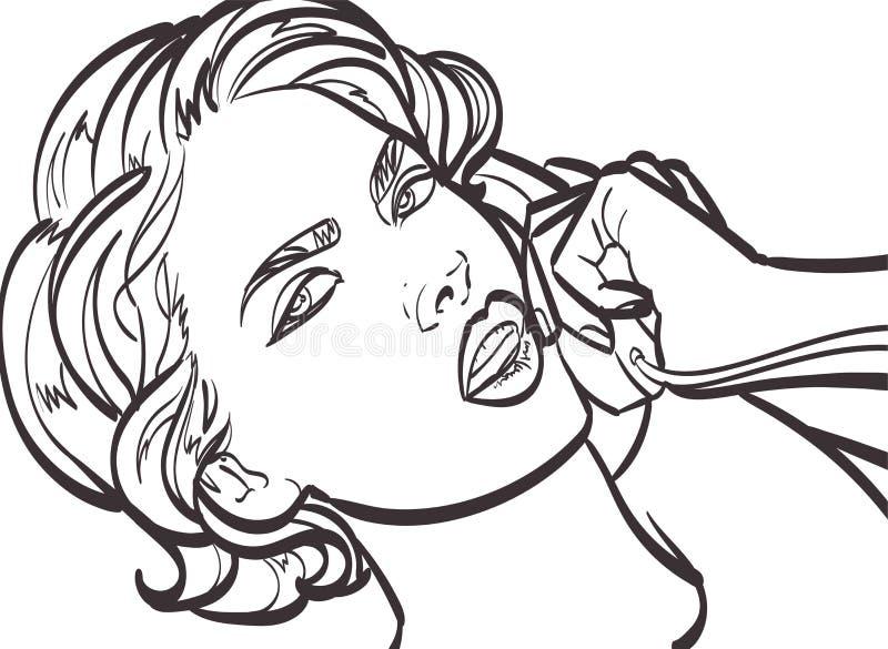 Dirigez l'art coloré de la femme très belle avec le téléphone, goupille, illustration d'art de bruit dans le format de vecteur EP illustration stock