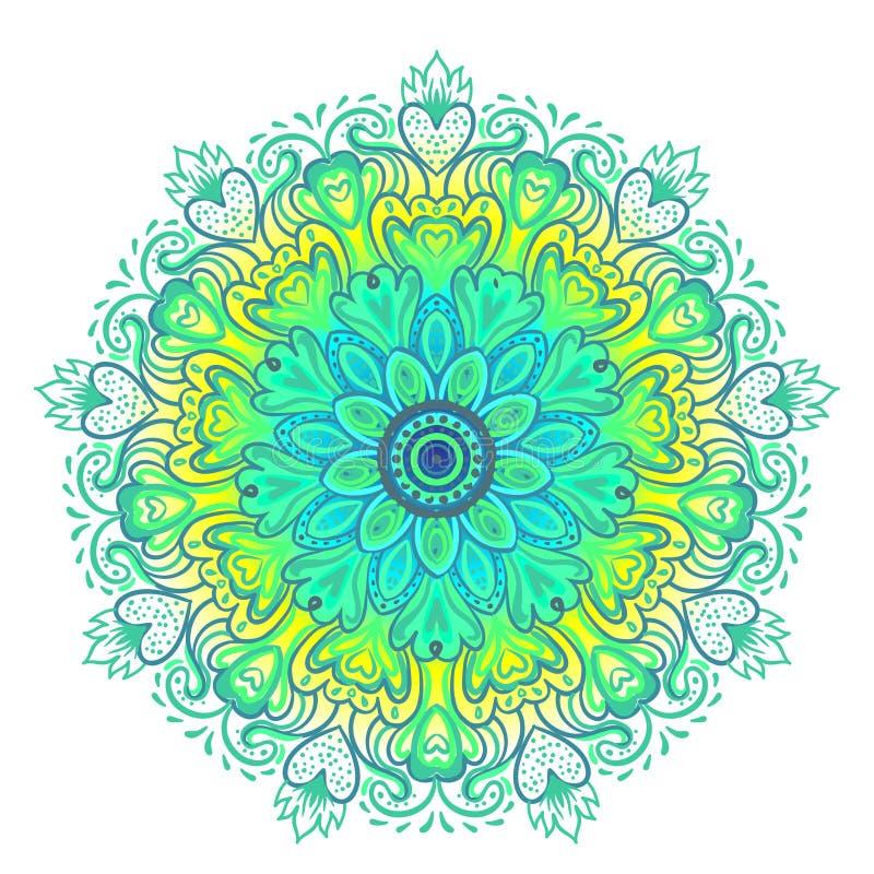 Dirigez l'art ethnique inspiré par mandala ornemental, Indien modelé illustration stock