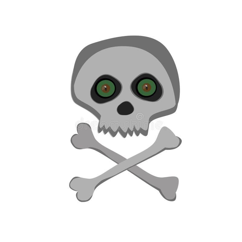 Dirigez l'aviron squelettique de bande dessinée avec les yeux fâchés verts d'isolement sur le fond blanc illustration de vecteur