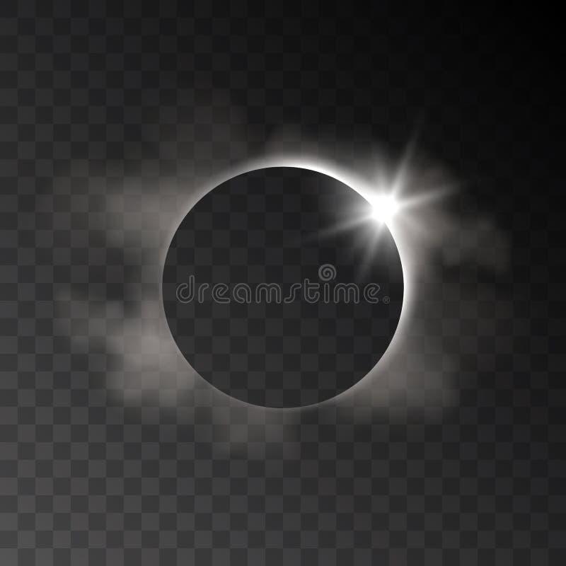 Dirigez l'effet transparent d'éclipse réaliste avec les nuages et le ligh illustration stock