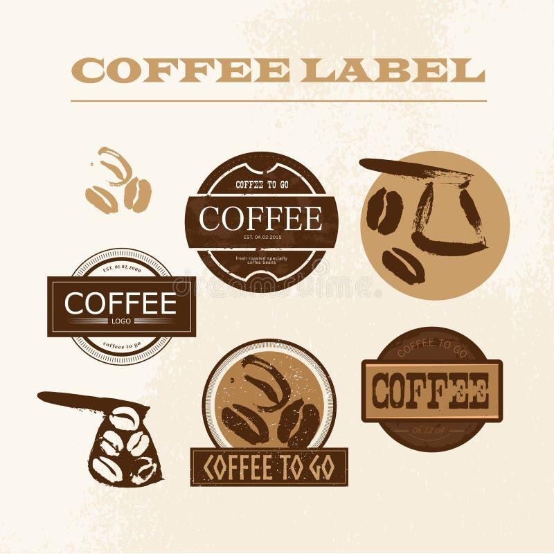 Dirigez l'emblème de café de vintage, ensemble de conception de logo d'isolement illustration libre de droits