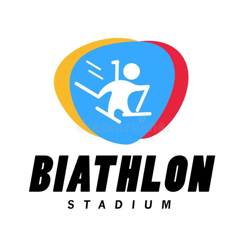 Dirigez l'emblème simple plat de championnat de biathlon de vecteur sur le fond blanc illustration de vecteur