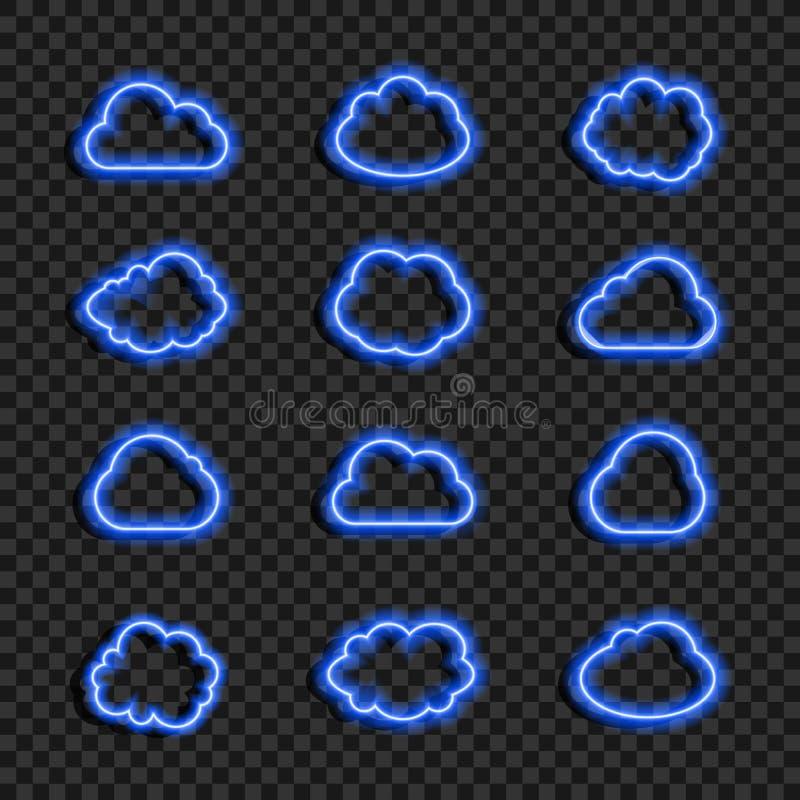 Dirigez l'ensemble bleu au néon rougeoyant de nuages d'isolement sur le fond transparent foncé, icônes collection, nuage de donné illustration de vecteur