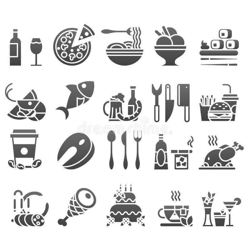 Dirigez l'ensemble de noir d'icônes et d'éléments plats au sujet de nourriture et buvez pour le menu de restaurant de Web de cuis illustration stock