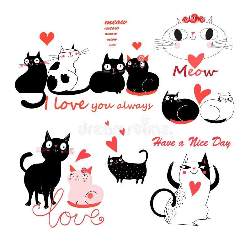Dirigez l'ensemble drôle de fête de chats mignons enamourés illustration stock