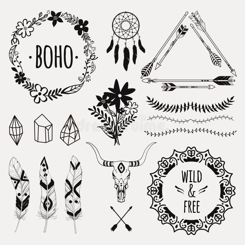 Dirigez l'ensemble ethnique monochrome avec des flèches, plumes, cristaux illustration de vecteur