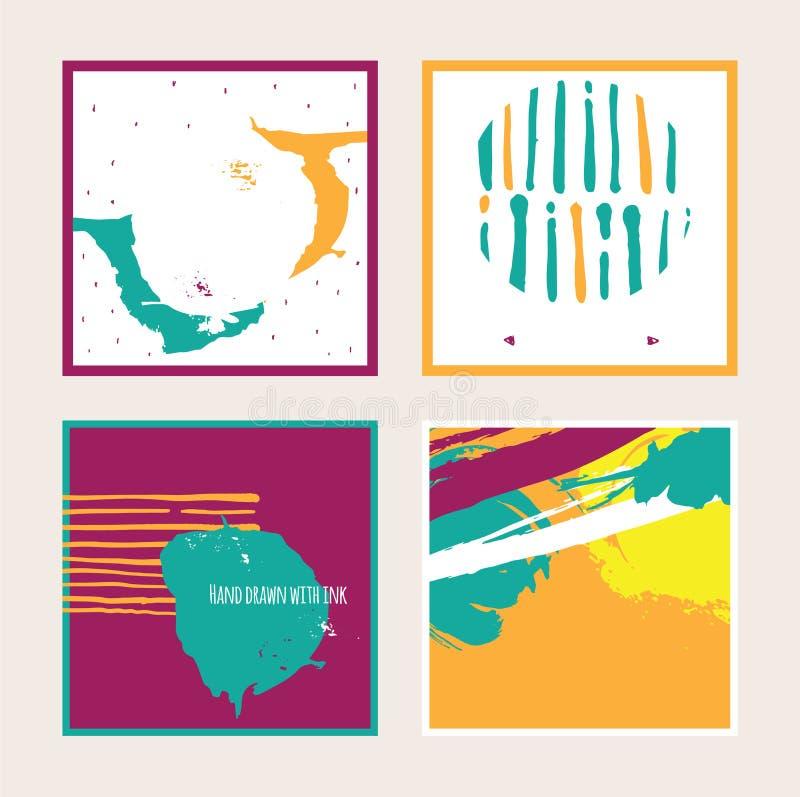 Dirigez l'ensemble lumineux avec les cartes carrées colorées lumineuses, sur le fond Illustration tirée par la main dessinée avec illustration libre de droits