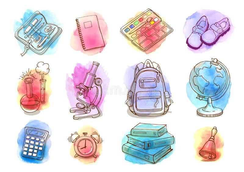 Dirigez l'ensemble peu précis de fournitures scolaires sur des baisses d'aquarelle illustration stock