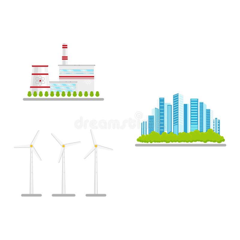 Dirigez l'ensemble plat d'icône d'énergie de substitution renouvelable et  illustration stock