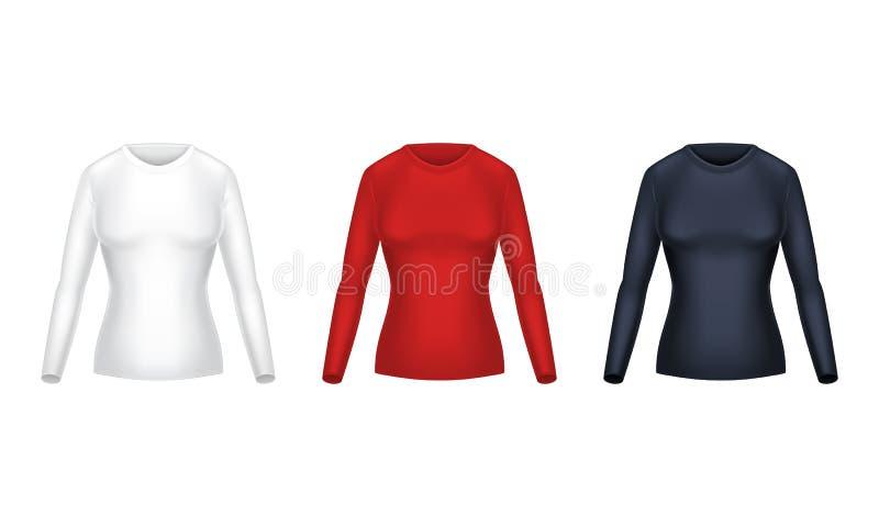 Dirigez l'ensemble réaliste de longues chemises femelles de douille illustration libre de droits