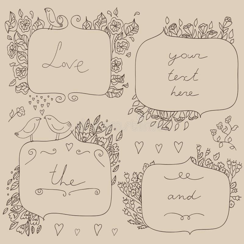 Dirigez l'ensemble romantique de cadres floraux, avec des couples des oiseaux et des coeurs illustration libre de droits