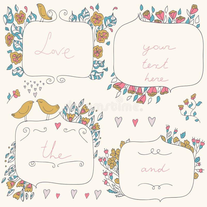 Dirigez l'ensemble romantique de cadres floraux, avec des couples des oiseaux et des coeurs dans des couleurs en pastel illustration stock