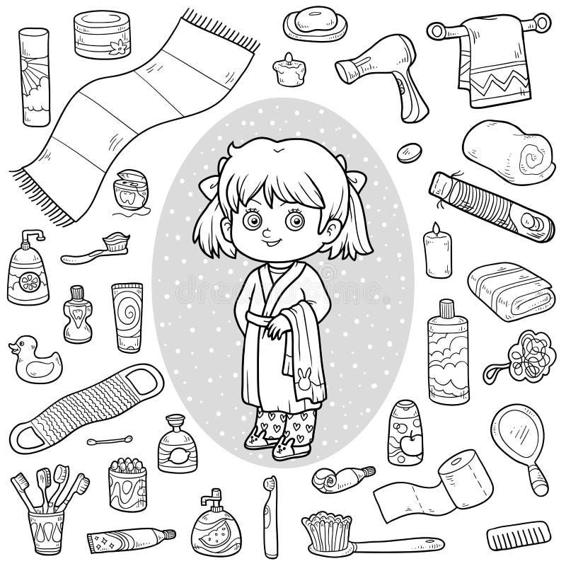 Dirigez l'ensemble sans couleur d'objets, de fille et de peignoir de salle de bains illustration stock