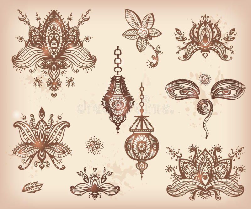 Dirigez l'ensemble tiré par la main d'éléments, de yeux et de l floraux de lotos de henné photos libres de droits