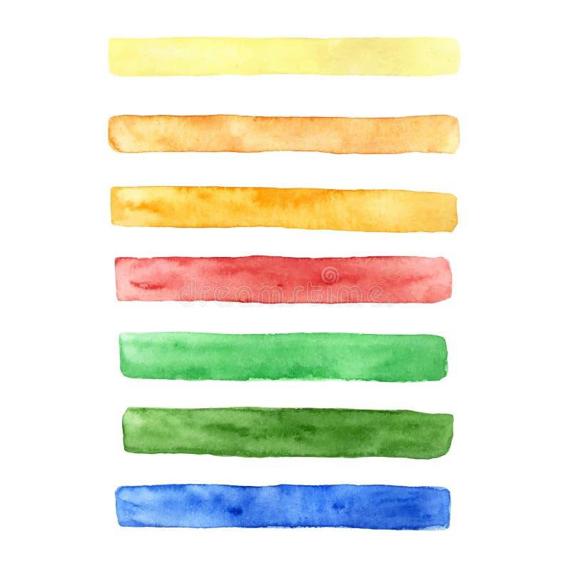 Dirigez l'ensemble tiré par la main de courses de brosse de différentes couleurs : jaune, orange, rouge, bleu et vert illustration de vecteur