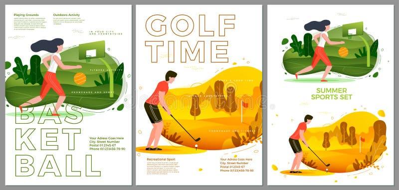 Dirigez l'ensemble typographique d'été - basket-ball, golf illustration de vecteur