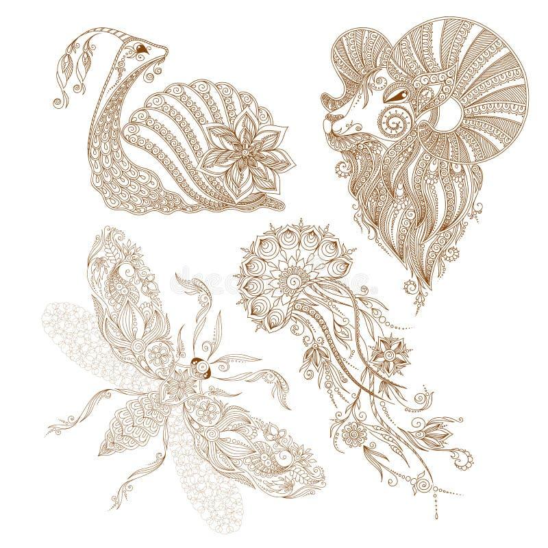 Dirigez l'escargot, papillon, méduse, mehendy indien d'éléments de RAM illustration de vecteur
