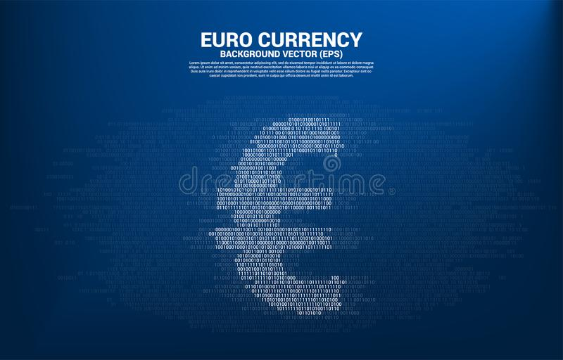 Dirigez l'euro devise d'argent avec un et nul style de matrice de chiffre de code binaire illustration stock