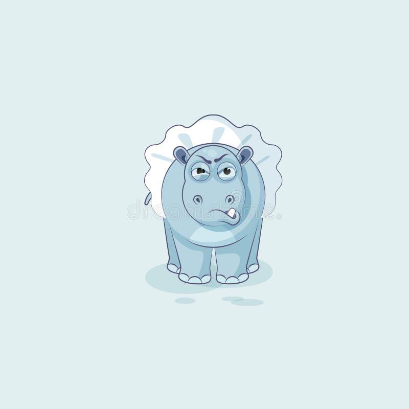 Dirigez l'hippopotame de ballerine de bande dessinée de caractère d'Emoji d'illustration avec émotion fâchée illustration stock
