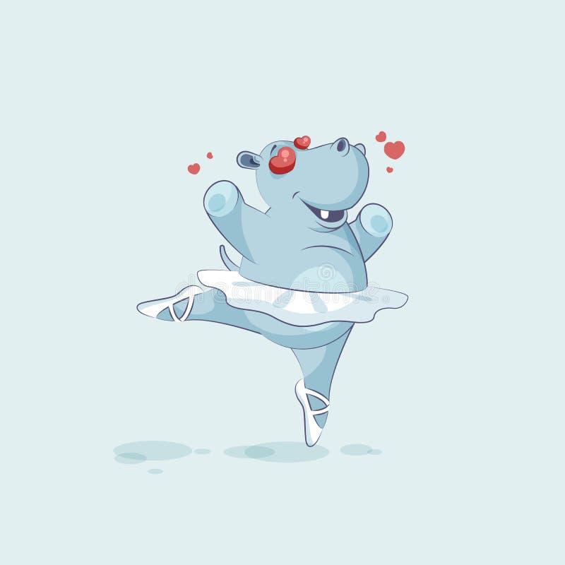 Dirigez l'hippopotame de ballerine de bande dessinée de caractère d'Emoji d'illustration dans l'amour illustration de vecteur