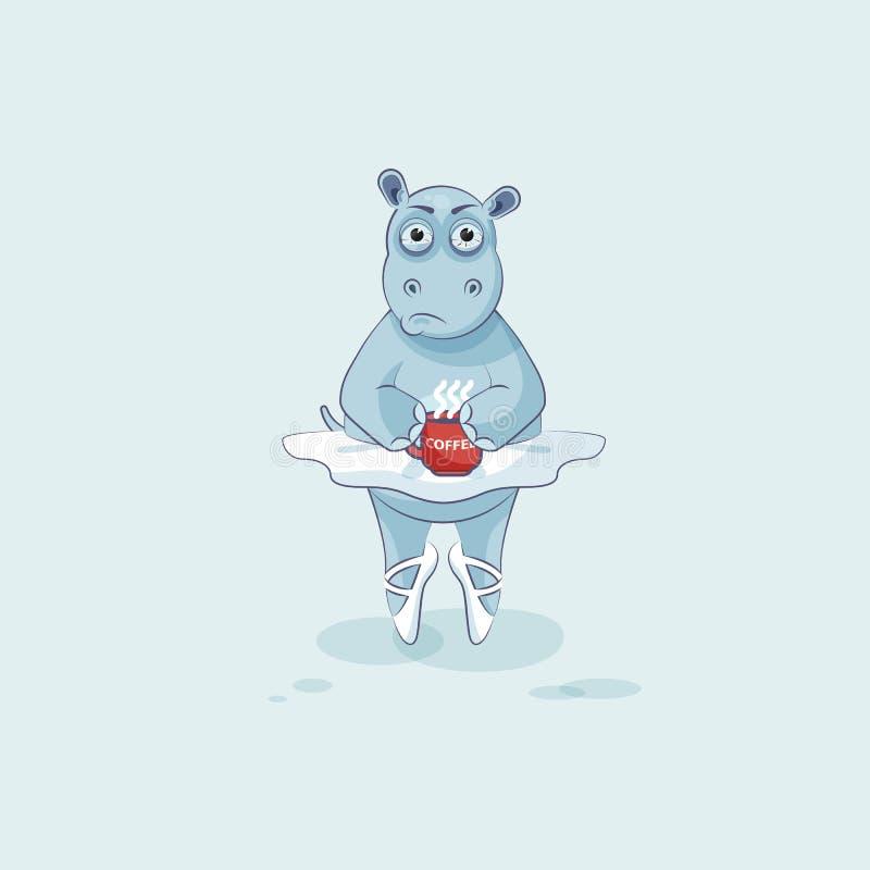 Dirigez l'hippopotame de ballerine de bande dessinée de caractère d'Emoji d'illustration nerveux avec la tasse de café illustration libre de droits