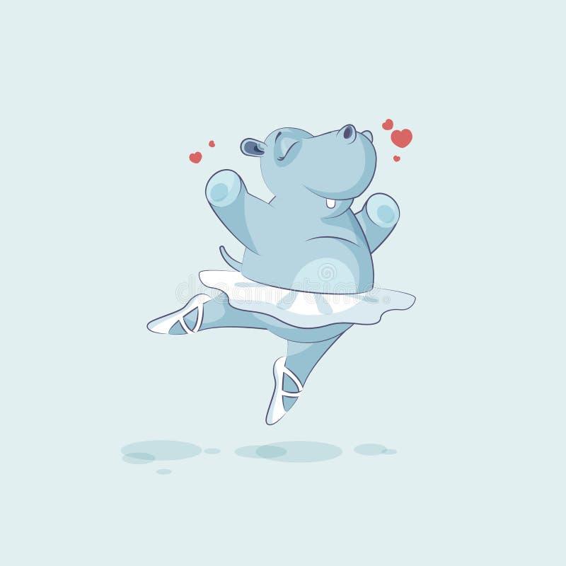 Dirigez l'hippopotame de ballerine de bande dessinée de caractère d'Emoji d'illustration sautant pour la joie illustration libre de droits