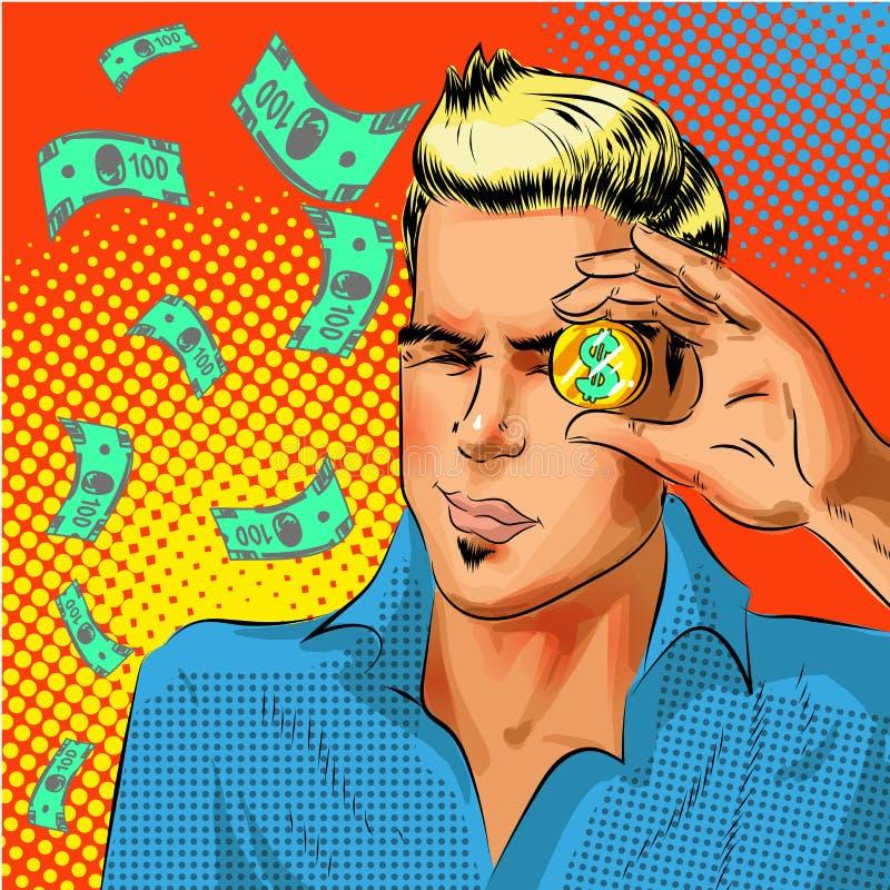 Dirigez l'homme d'affaires d'art de bruit regardant la pièce de monnaie du dollar d'or illustration stock
