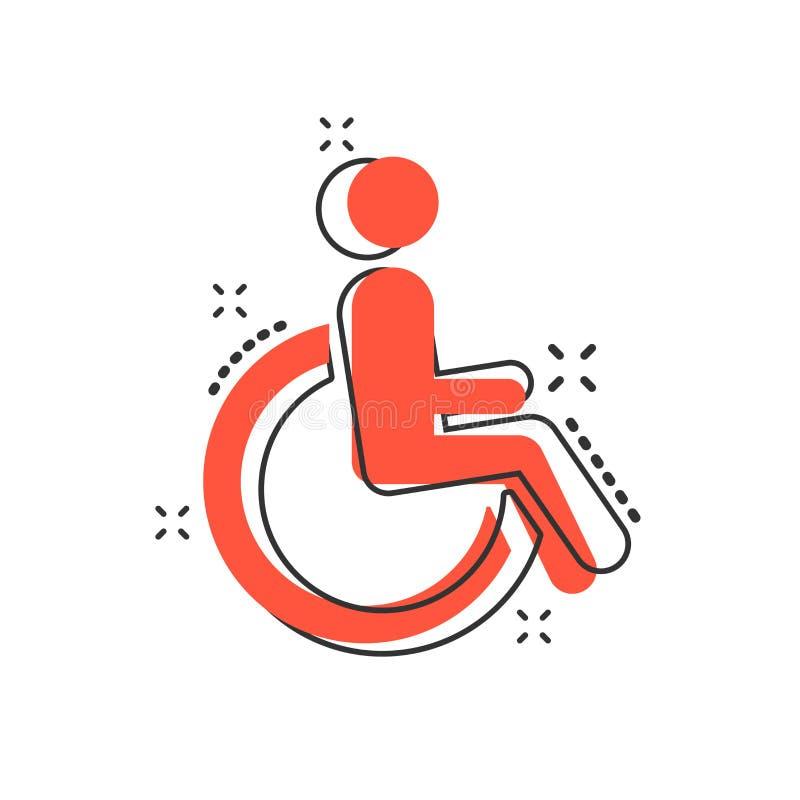 Dirigez l'homme de bande dessinée dans l'icône de fauteuil roulant dans le style comique Handicappe illustration libre de droits