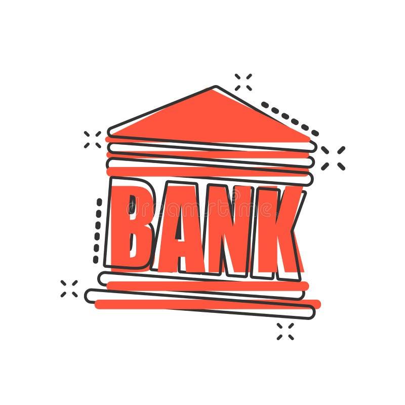 Dirigez l'icône d'édifice bancaire de bande dessinée dans le style comique Illu de signe de banque illustration libre de droits