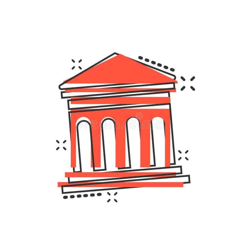 Dirigez l'icône d'édifice bancaire de bande dessinée dans le style comique Signe IL de musée illustration stock