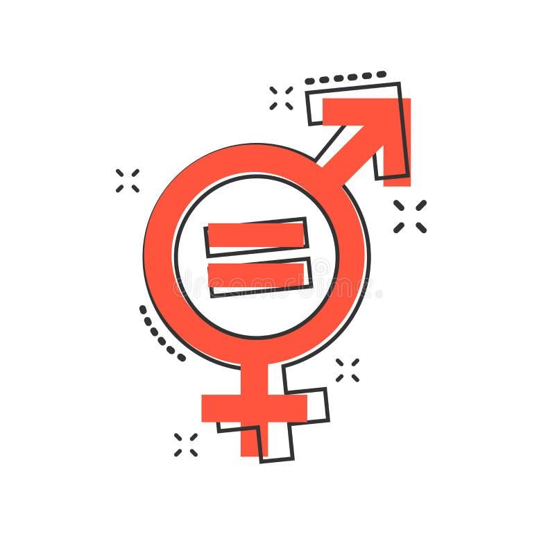 Dirigez l'icône d'égal de genre de bande dessinée dans le style comique Hommes et femmes s illustration libre de droits