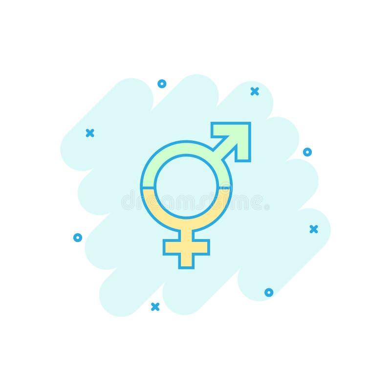 Dirigez l'icône d'égal de genre de bande dessinée dans le style comique Hommes et femmes s illustration de vecteur