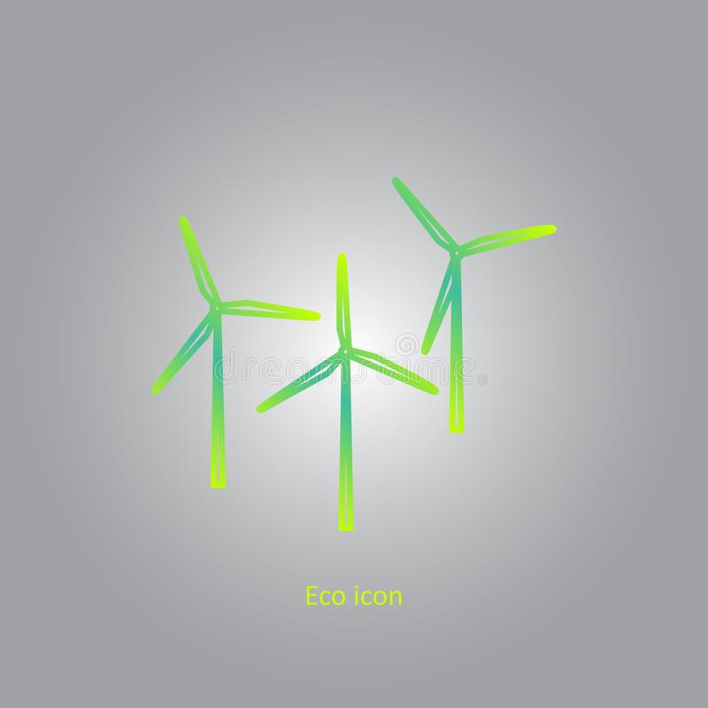 Dirigez l'icône de gradient connexe par eco simple d'ensemble des générateurs de vent Production d'électricité renouvelable alter illustration libre de droits