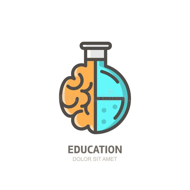 Dirigez l'icône de logo, l'emblème avec le cerveau et le flacon de laboratoire Concept pour le développement des affaires, l'éduc illustration libre de droits