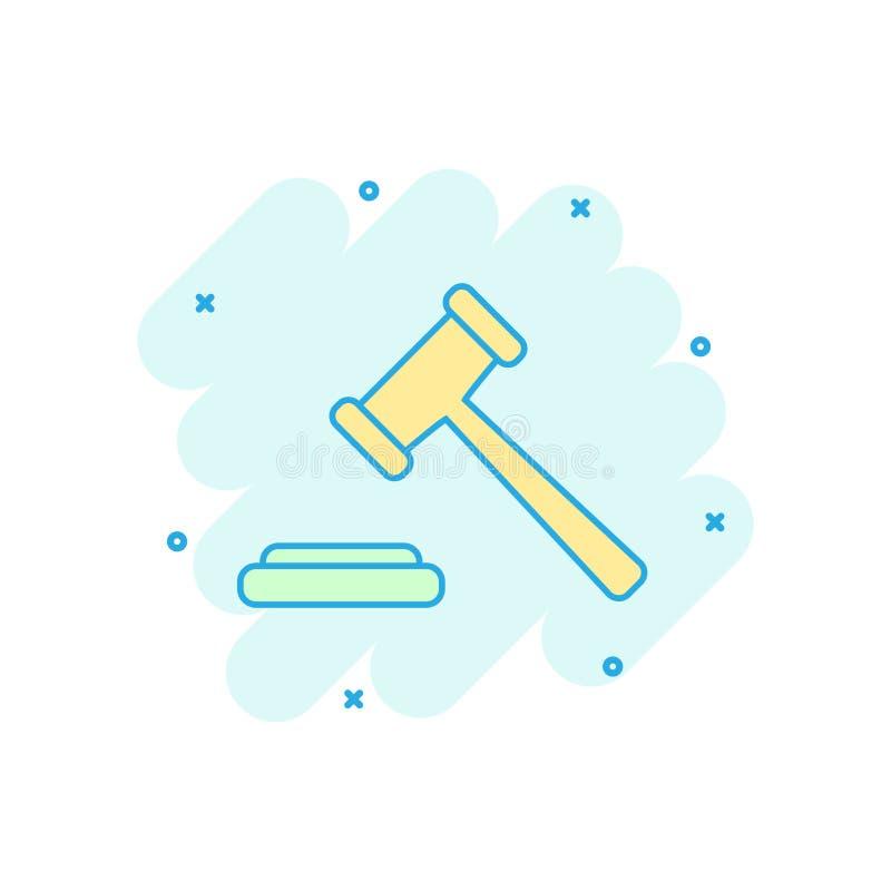 Dirigez l'icône de marteau de vente aux enchères de bande dessinée dans le style comique Tribuna de cour illustration de vecteur