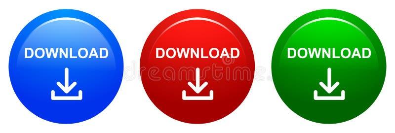 Dirigez l'icône de rouge bleu de bouton rond de téléchargement et de couleur verte illustration de vecteur