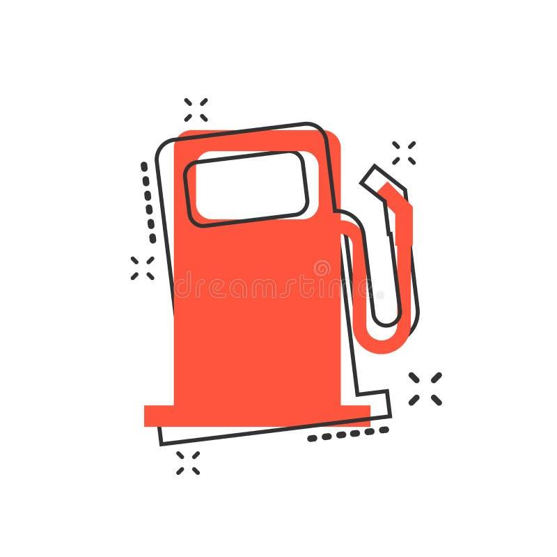 Dirigez l'icône de station de gaz combustible de bande dessinée dans le style comique Essence de voiture illustration libre de droits