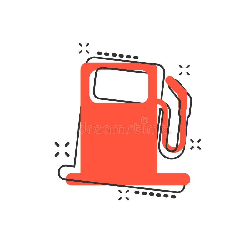 Dirigez l'icône de station de gaz combustible de bande dessinée dans le style comique Essence de voiture illustration de vecteur