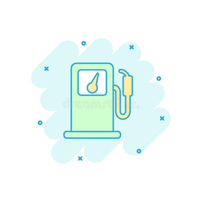 Dirigez l'icône de station de gaz combustible de bande dessinée dans le style comique Essence de voiture illustration stock