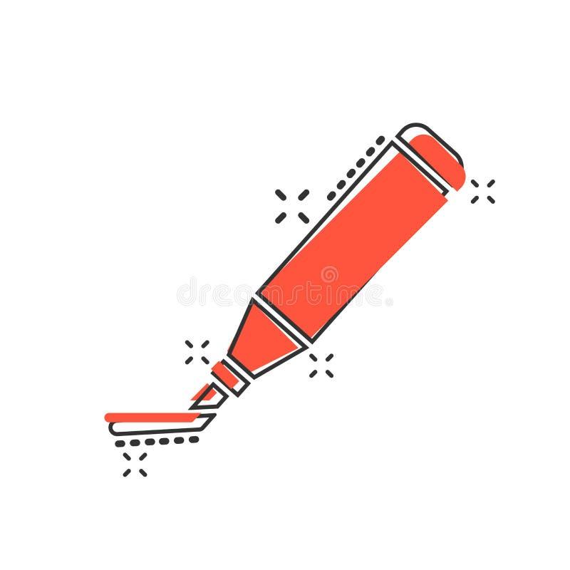 Dirigez l'icône de stylo de marqueur de barre de mise en valeur de bande dessinée dans le style comique Highl illustration stock