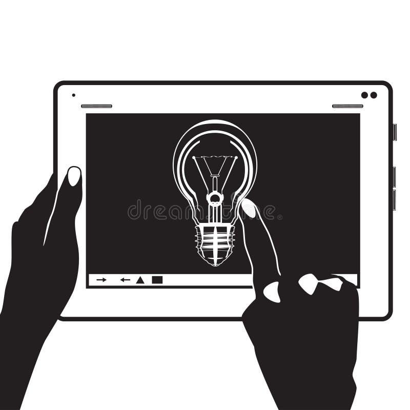 Dirigez l'icône numérique d'idée de comprimé dans le style plat illustration libre de droits
