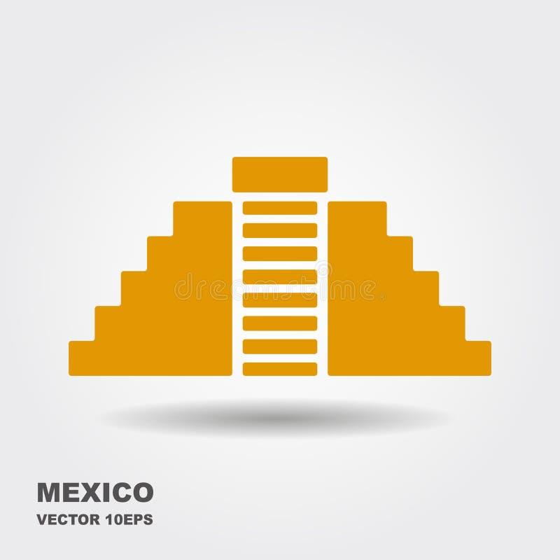 Dirigez l'icône plate de Chichen Itza, Mexique D'isolement sur le fond blanc illustration de vecteur