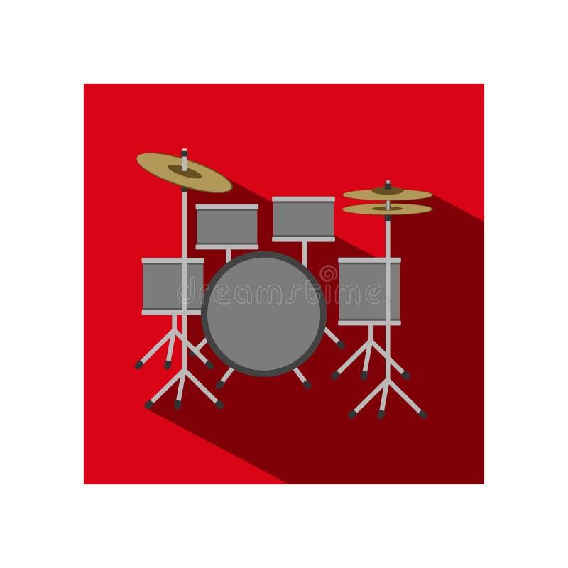 Dirigez l'icône plate des tambours - le kit de tambour illustration libre de droits