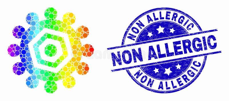 Dirigez l'icône pointillée lumineuse de vitesse et avez rayé le joint non allergique de timbre illustration stock