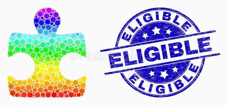 Dirigez l'icône spectrale d'élément de puzzle de Pixelated et affligez le timbre éligible illustration libre de droits